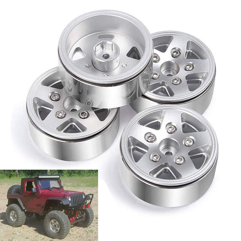 "RC Crawler Tires Aluminum Metal 4PCS 1.9"" Beadlock Wheel Rims"