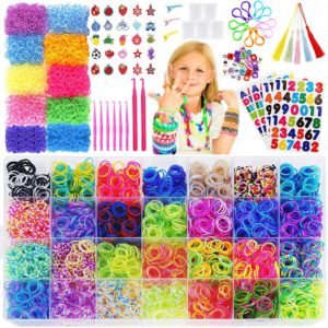 15,000+Rainbow Rubber Bands Refill Kit-56 Colors Bracelet Making Kit,14,000 Loom Bands,500 S Clips