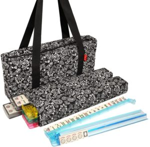 American Mahjong Set by Linda Li - Black Paisley Soft Bag