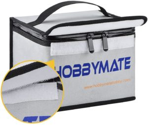 HOBBYMATE Fireproof and Water Resistant Bag for Lipo Battery Storage and Charging with Double Zipper
