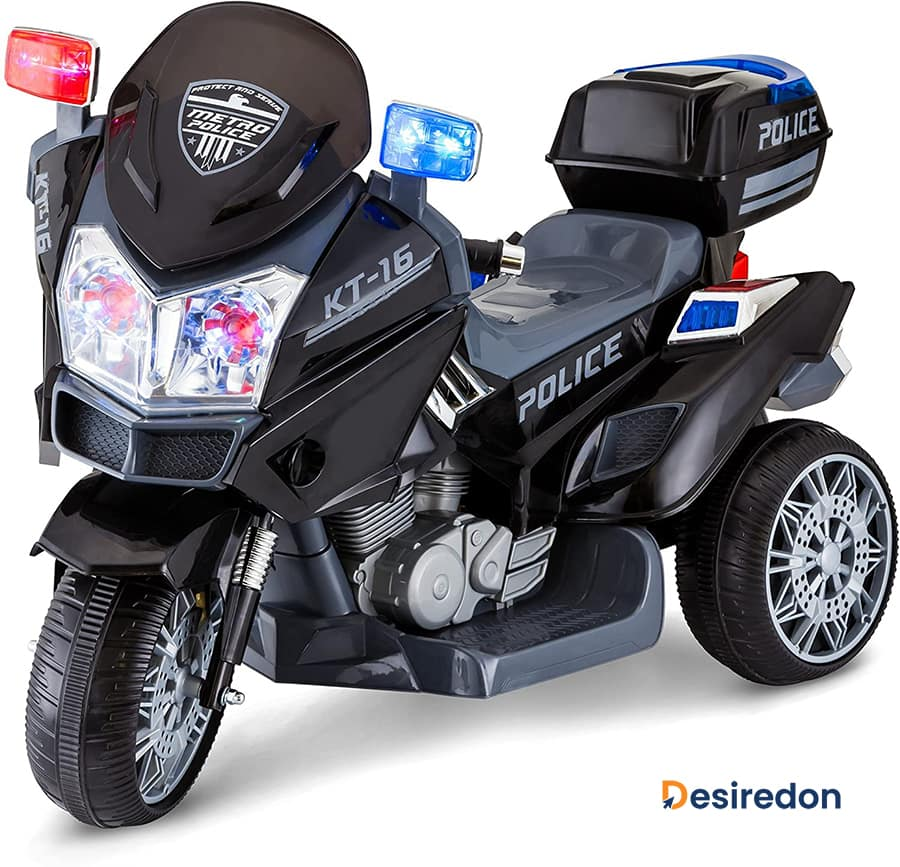 Kid Trax Police Rescue Motorcycle 6V Battery-Powered Ride-On Toy