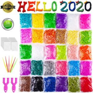 VENSEEN Rainbow Rubber Bands Bracelet Making Kit, 15000 Loom Bands in 30 Colors with 600 Clips