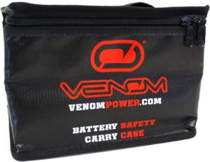 Venom Fire Resistant Carry LiPo Bag with Glass Fiber and High Thermal Protective Coating LiPo Case for Storage & Charging