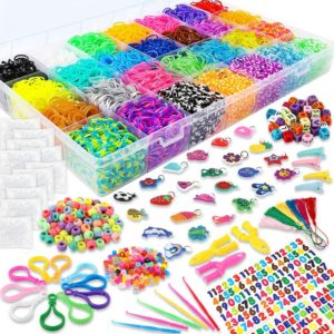 YIQIHAI 12000+ Rainbow Rubber Bands Mega Refill Bracelet Making Kit Over 11000+ Loom Bands in 28 Colors with S Clips