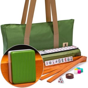 Yellow Mountain Imports American Mahjong Set, Huntington with Olive Green Soft Case