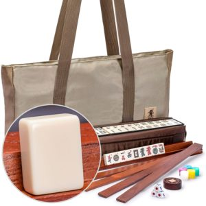 Yellow Mountain Imports American Mahjong Set, Mojave (Ivory) with Brown Soft Case