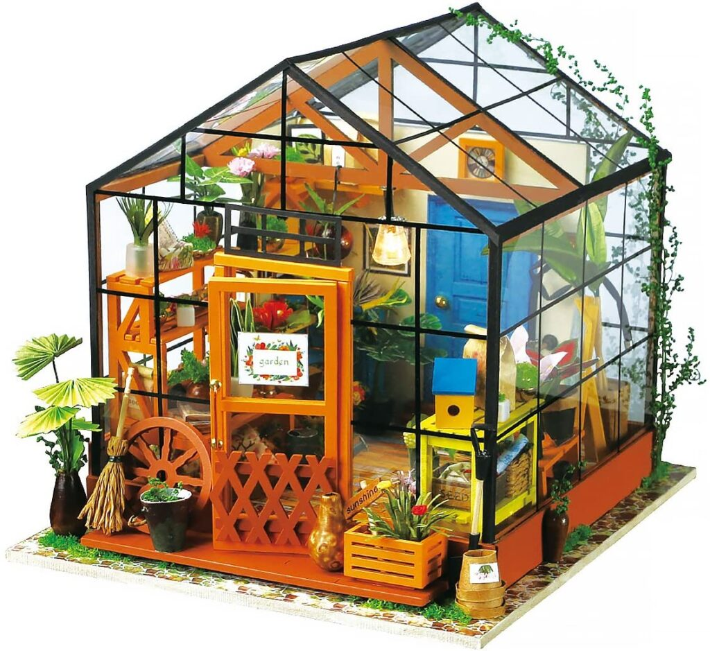 ROBOTIME DIY Dollhouse and Mini Greenhouse with LED