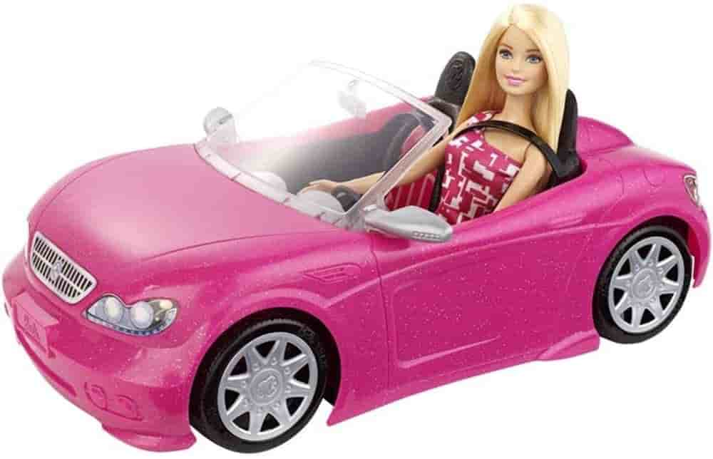 Mattel Barbie Doll and Galm Convertible Car