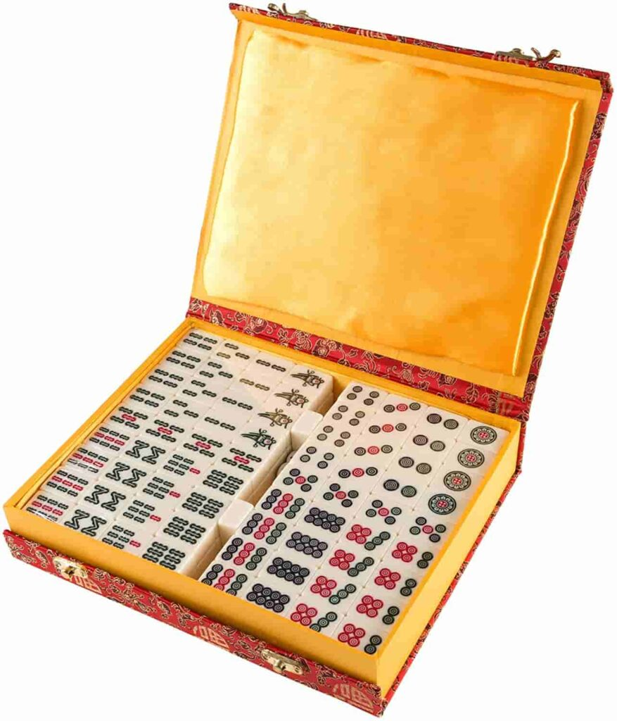 Chinese Mahjong Game Set with 146 Tiles Dice & Ornate Storage Case